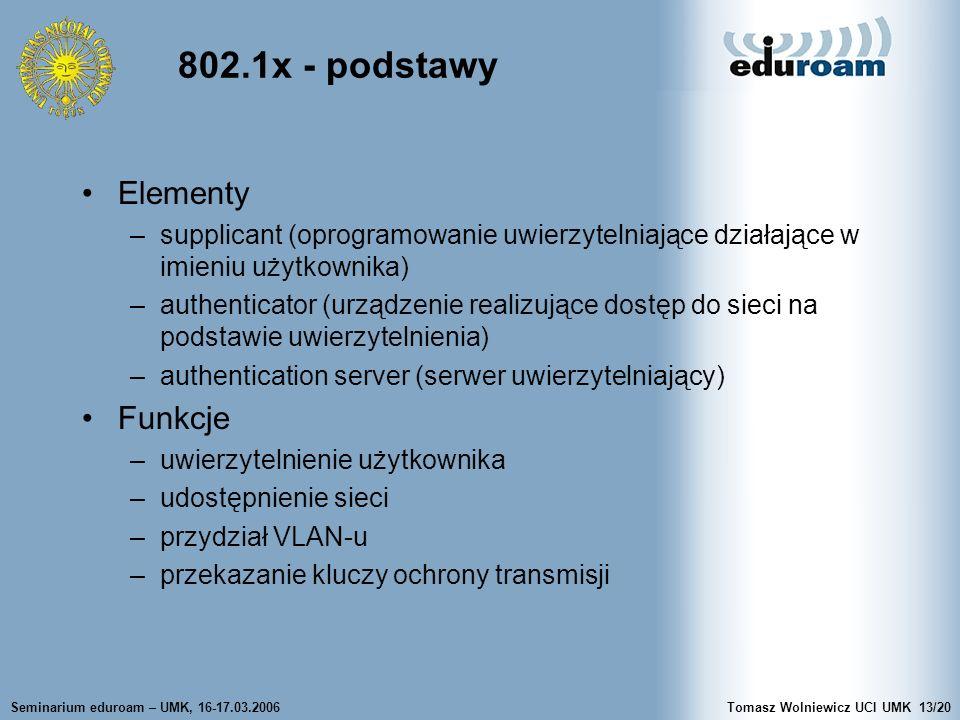 Seminarium eduroam – UMK, 16-17.03.2006Tomasz Wolniewicz UCI UMK13/20 802.1x - podstawy Elementy –supplicant (oprogramowanie uwierzytelniające działające w imieniu użytkownika) –authenticator (urządzenie realizujące dostęp do sieci na podstawie uwierzytelnienia) –authentication server (serwer uwierzytelniający) Funkcje –uwierzytelnienie użytkownika –udostępnienie sieci –przydział VLAN-u –przekazanie kluczy ochrony transmisji