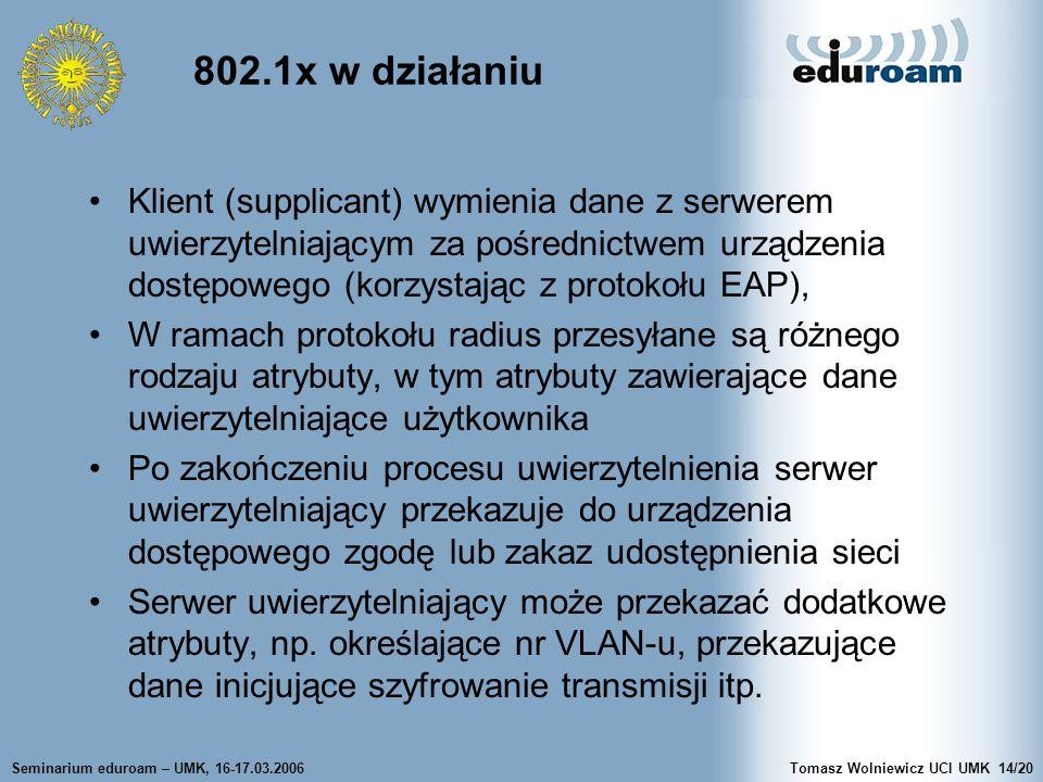 Seminarium eduroam – UMK, 16-17.03.2006Tomasz Wolniewicz UCI UMK14/20 802.1x w działaniu Klient (supplicant) wymienia dane z serwerem uwierzytelniającym za pośrednictwem urządzenia dostępowego (korzystając z protokołu EAP), W ramach protokołu radius przesyłane są różnego rodzaju atrybuty, w tym atrybuty zawierające dane uwierzytelniające użytkownika Po zakończeniu procesu uwierzytelnienia serwer uwierzytelniający przekazuje do urządzenia dostępowego zgodę lub zakaz udostępnienia sieci Serwer uwierzytelniający może przekazać dodatkowe atrybuty, np.
