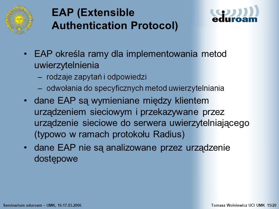 Seminarium eduroam – UMK, 16-17.03.2006Tomasz Wolniewicz UCI UMK15/20 EAP (Extensible Authentication Protocol) EAP określa ramy dla implementowania metod uwierzytelnienia –rodzaje zapytań i odpowiedzi –odwołania do specyficznych metod uwierzytelniania dane EAP są wymieniane między klientem urządzeniem sieciowym i przekazywane przez urządzenie sieciowe do serwera uwierzytelniającego (typowo w ramach protokołu Radius) dane EAP nie są analizowane przez urządzenie dostępowe
