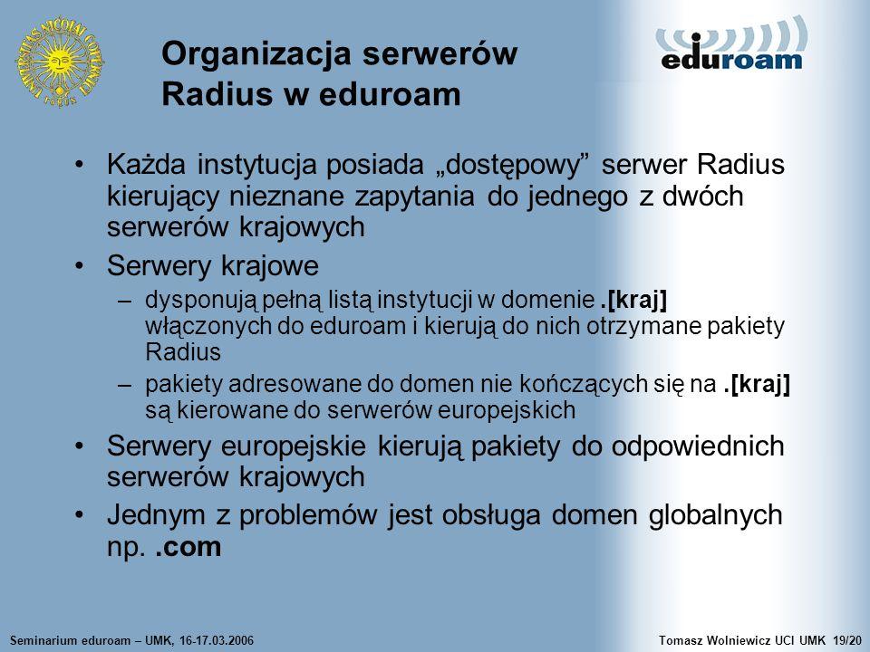 Seminarium eduroam – UMK, 16-17.03.2006Tomasz Wolniewicz UCI UMK19/20 Organizacja serwerów Radius w eduroam Każda instytucja posiada dostępowy serwer Radius kierujący nieznane zapytania do jednego z dwóch serwerów krajowych Serwery krajowe –dysponują pełną listą instytucji w domenie.[kraj] włączonych do eduroam i kierują do nich otrzymane pakiety Radius –pakiety adresowane do domen nie kończących się na.[kraj] są kierowane do serwerów europejskich Serwery europejskie kierują pakiety do odpowiednich serwerów krajowych Jednym z problemów jest obsługa domen globalnych np..com