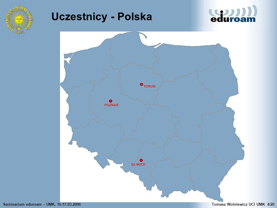 Seminarium eduroam – UMK, 16-17.03.2006Tomasz Wolniewicz UCI UMK4/20 Uczestnicy - Polska