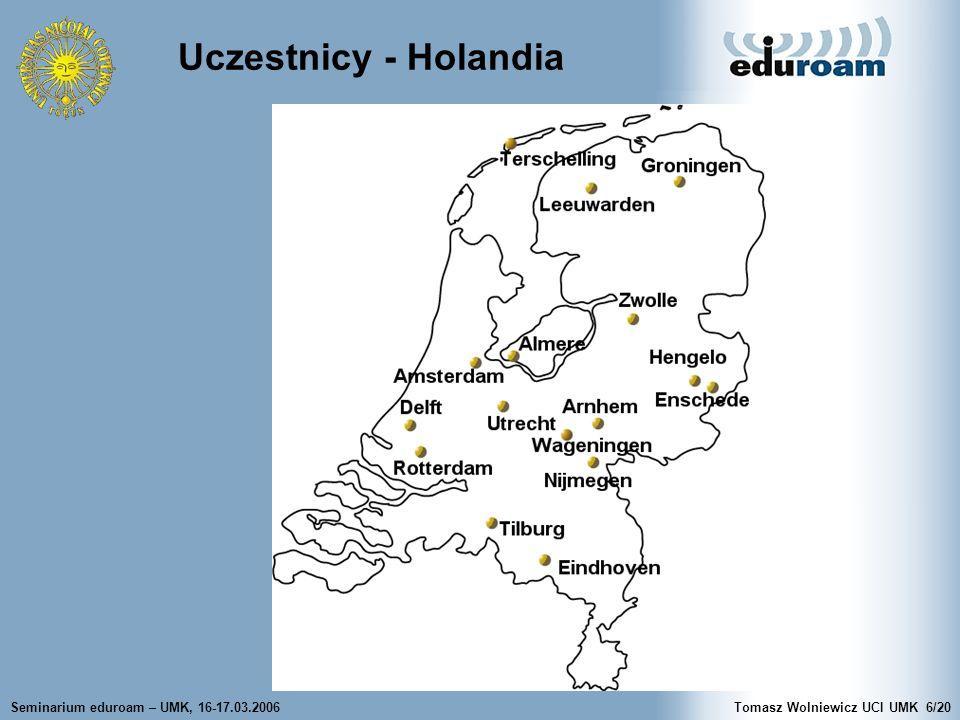 Seminarium eduroam – UMK, 16-17.03.2006Tomasz Wolniewicz UCI UMK6/20 Uczestnicy - Holandia