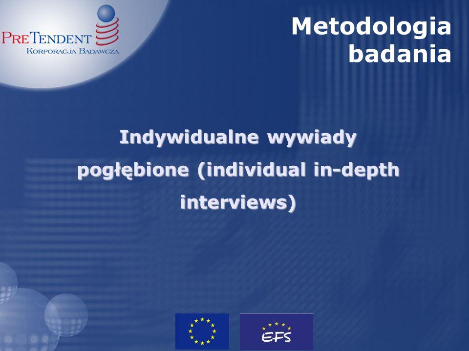 Indywidualne wywiady pogłębione (individual in-depth interviews) Metodologia badania