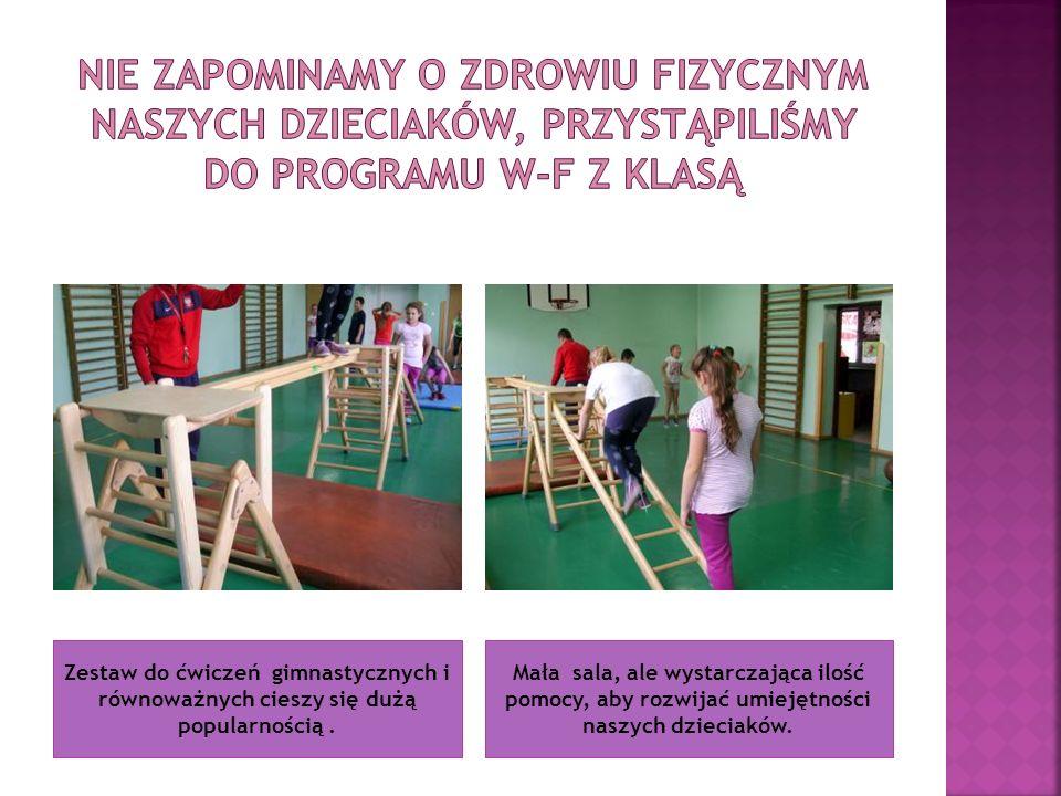 Zestaw do ćwiczeń gimnastycznych i równoważnych cieszy się dużą popularnością. Mała sala, ale wystarczająca ilość pomocy, aby rozwijać umiejętności na