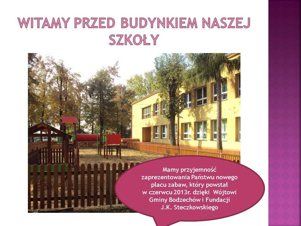Mamy przyjemność zaprezentowania Państwu nowego placu zabaw, który powstał w czerwcu 2013r. dzięki Wójtowi Gminy Bodzechów i Fundacji J.K. Steczkowski