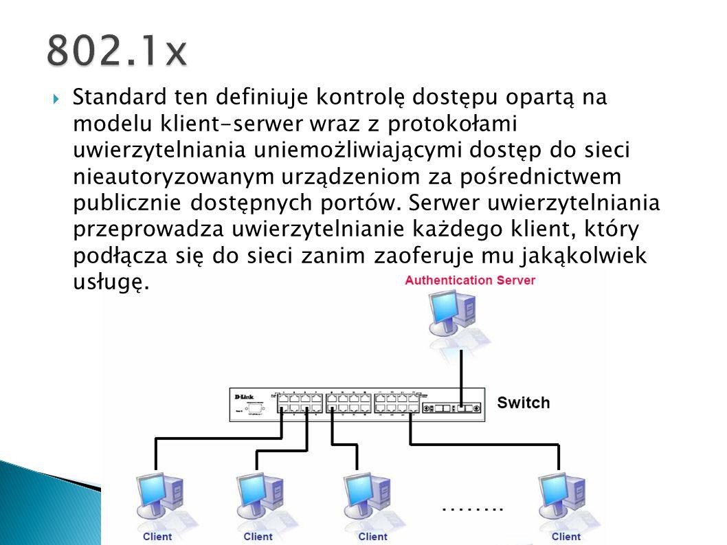 Standard ten definiuje kontrolę dostępu opartą na modelu klient-serwer wraz z protokołami uwierzytelniania uniemożliwiającymi dostęp do sieci nieautor