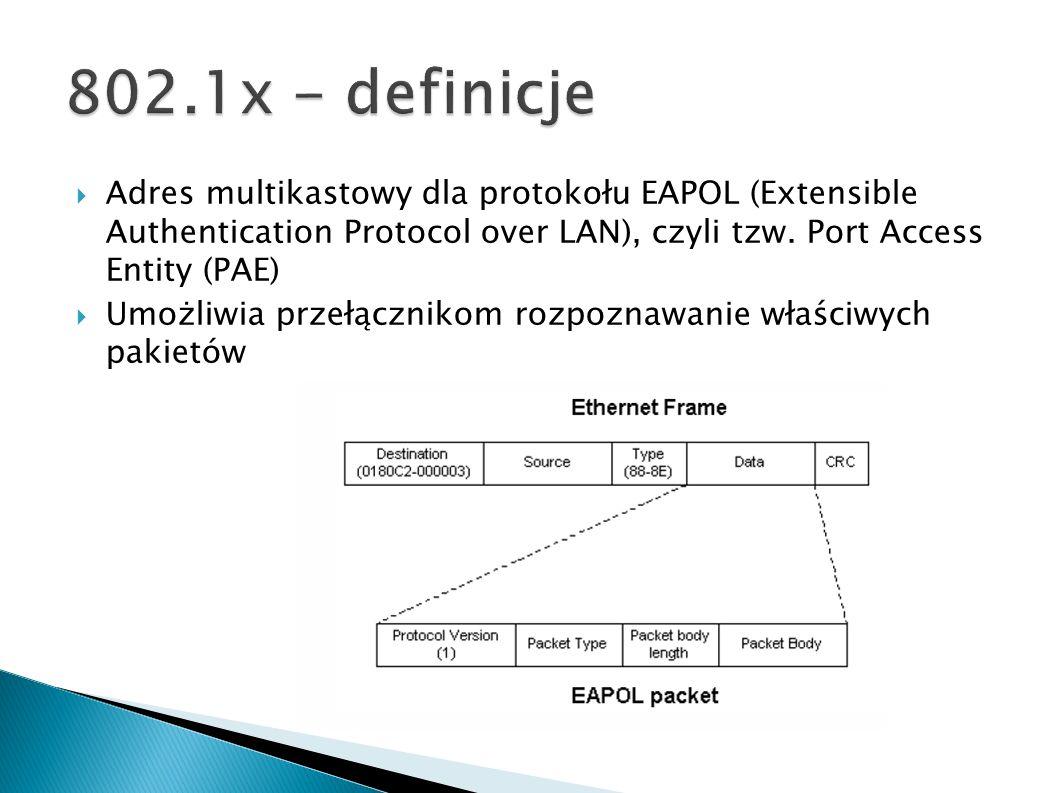 Adres multikastowy dla protokołu EAPOL (Extensible Authentication Protocol over LAN), czyli tzw. Port Access Entity (PAE) Umożliwia przełącznikom rozp