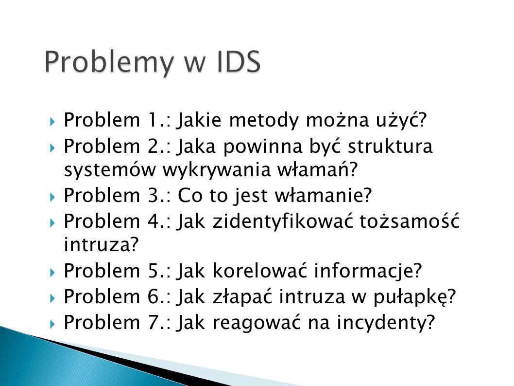 Problem 1.: Jakie metody można użyć? Problem 2.: Jaka powinna być struktura systemów wykrywania włamań? Problem 3.: Co to jest włamanie? Problem 4.: J