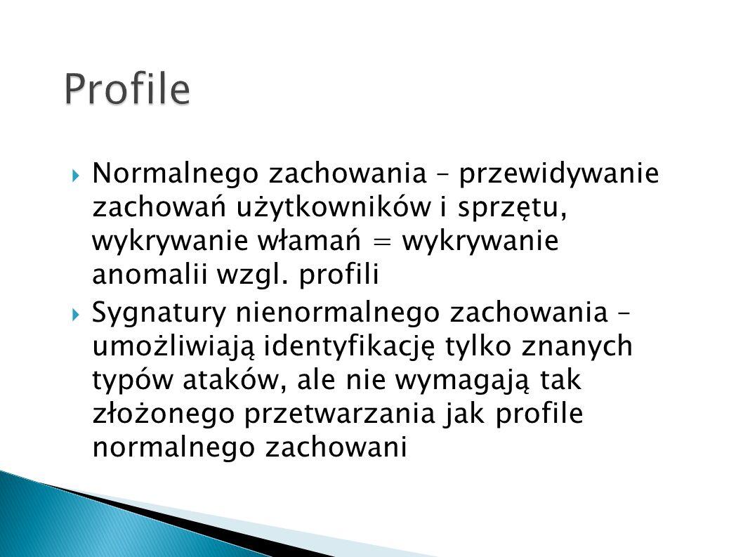 Normalnego zachowania – przewidywanie zachowań użytkowników i sprzętu, wykrywanie włamań = wykrywanie anomalii wzgl. profili Sygnatury nienormalnego z