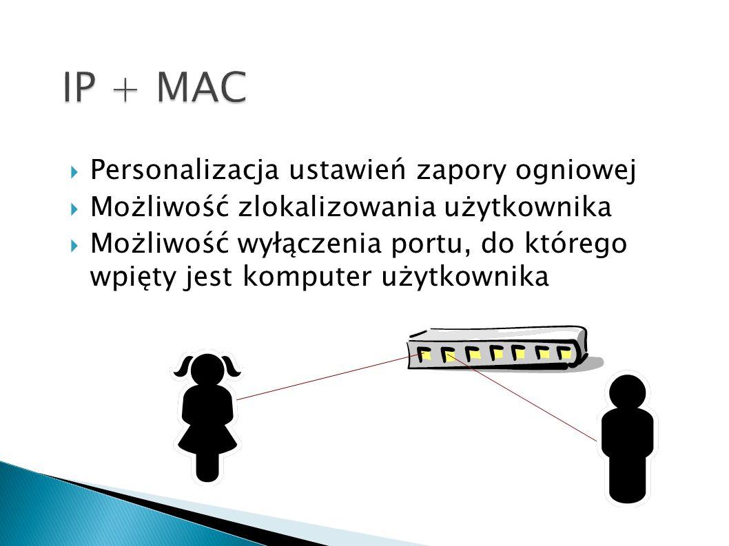 Personalizacja ustawień zapory ogniowej Możliwość zlokalizowania użytkownika Możliwość wyłączenia portu, do którego wpięty jest komputer użytkownika M