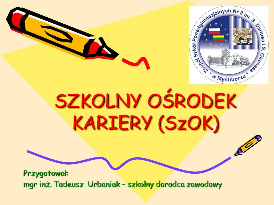 SZKOLNY OŚRODEK KARIERY (SzOK) Przygotował: mgr inż. Tadeusz Urbaniak – szkolny doradca zawodowy