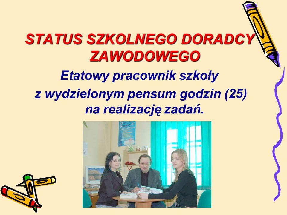 STATUS SZKOLNEGO DORADCY ZAWODOWEGO Etatowy pracownik szkoły z wydzielonym pensum godzin (25) na realizację zadań.