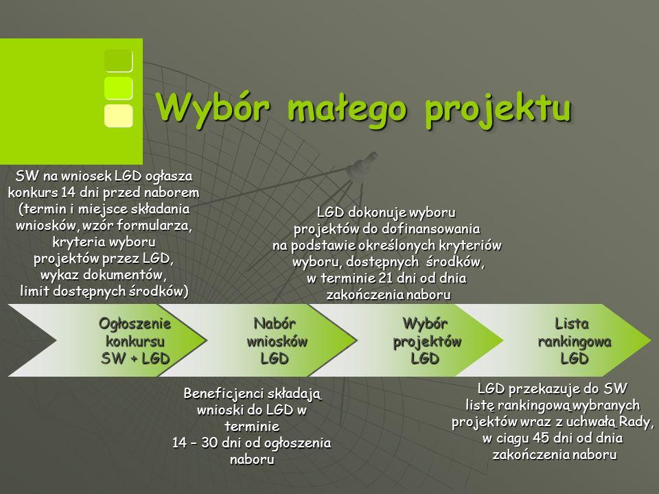 Wybór małego projektu Ogłoszenie konkursu SW + LGD SW na wniosek LGD ogłasza konkurs 14 dni przed naborem (termin i miejsce składania wniosków, wzór formularza, kryteria wyboru projektów przez LGD, wykaz dokumentów, limit dostępnych środków) Nabór wniosków LGD Beneficjenci składają wnioski do LGD w terminie 14 – 30 dni od ogłoszenia naboru Wybór projektów LGD LGD dokonuje wyboru projektów do dofinansowania na podstawie określonych kryteriów wyboru, dostępnych środków, w terminie 21 dni od dnia zakończenia naboru Lista rankingowa LGD LGD przekazuje do SW listę rankingową wybranych projektów wraz z uchwałą Rady, w ciągu 45 dni od dnia zakończenia naboru