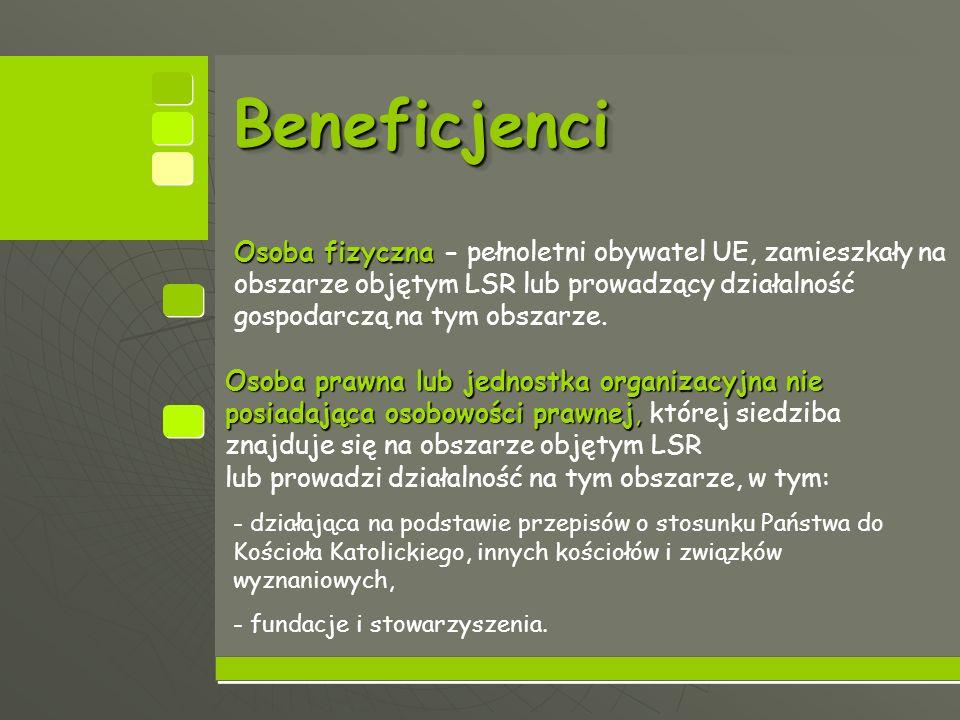 BeneficjenciBeneficjenci Osoba fizyczna Osoba fizyczna - pełnoletni obywatel UE, zamieszkały na obszarze objętym LSR lub prowadzący działalność gospodarczą na tym obszarze.