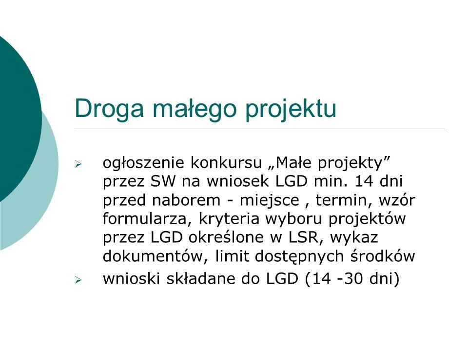 Droga małego projektu ogłoszenie konkursu Małe projekty przez SW na wniosek LGD min.