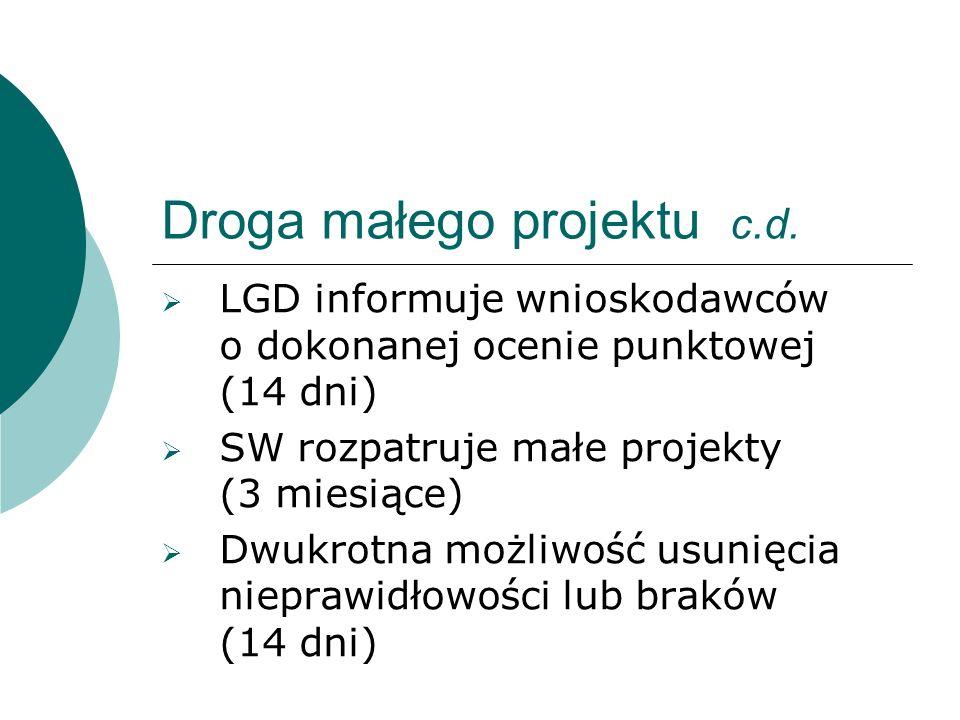 Droga małego projektu c.d. LGD informuje wnioskodawców o dokonanej ocenie punktowej (14 dni) SW rozpatruje małe projekty (3 miesiące) Dwukrotna możliw