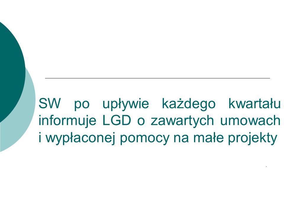 SW po upływie każdego kwartału informuje LGD o zawartych umowach i wypłaconej pomocy na małe projekty.