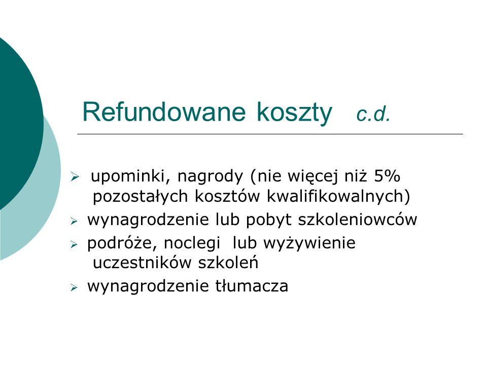 Refundowane koszty c.d.