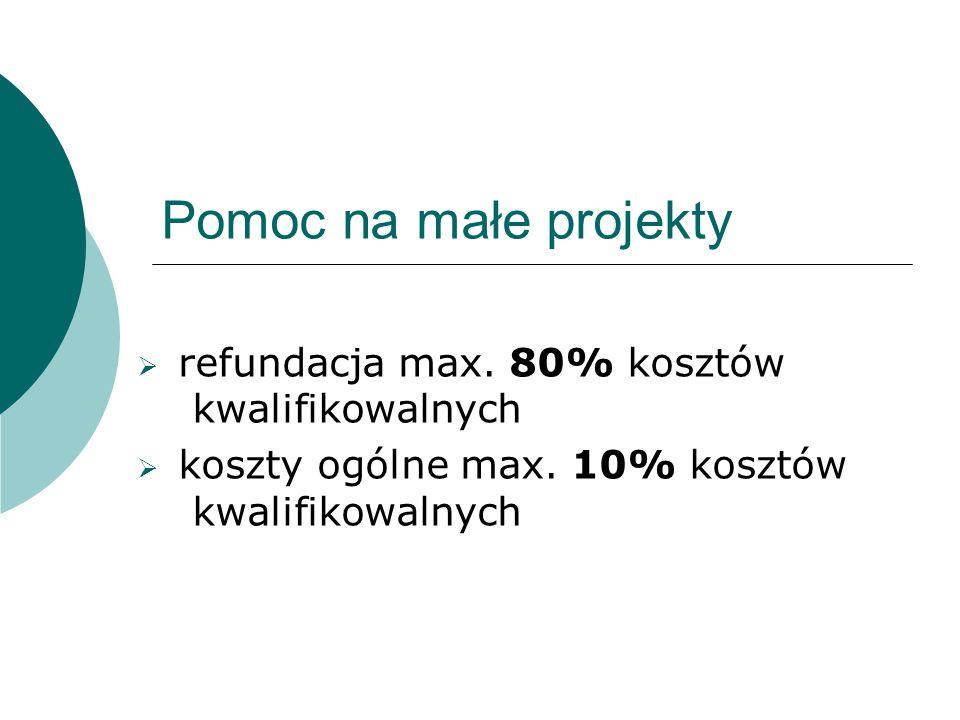 Pomoc na małe projekty refundacja max. 80% kosztów kwalifikowalnych koszty ogólne max.