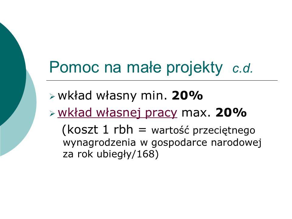 Pomoc na małe projekty c.d. wkład własny min. 20% wkład własnej pracy max.