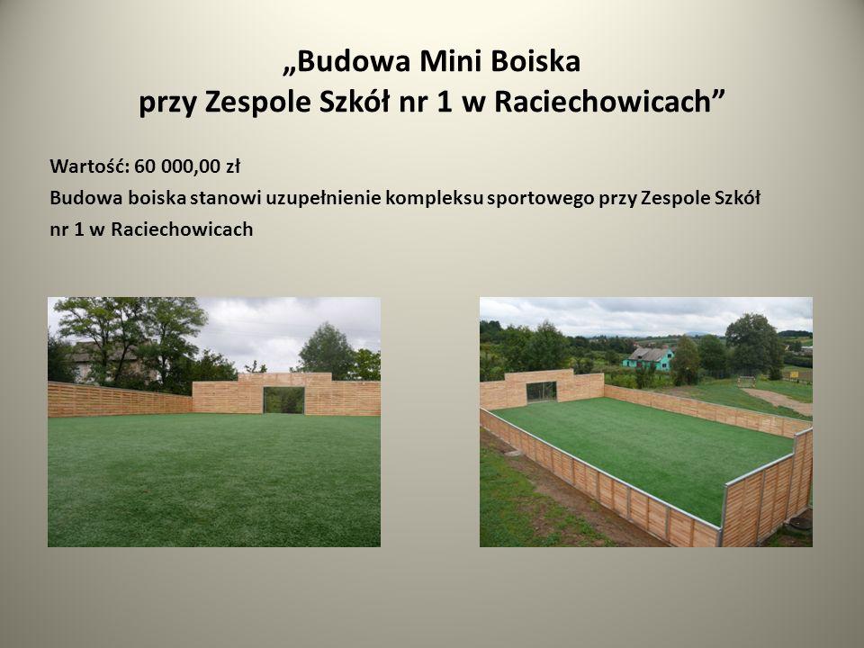Budowa Mini Boiska przy Zespole Szkół nr 1 w Raciechowicach Wartość: 60 000,00 zł Budowa boiska stanowi uzupełnienie kompleksu sportowego przy Zespole Szkół nr 1 w Raciechowicach