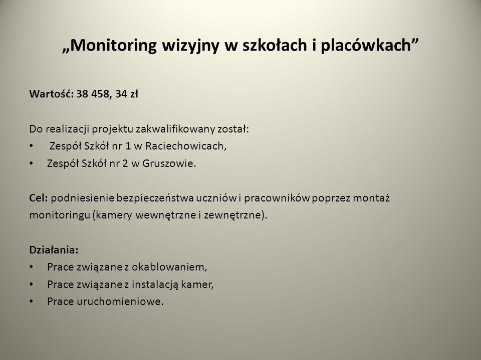 Monitoring wizyjny w szkołach i placówkach Wartość: 38 458, 34 zł Do realizacji projektu zakwalifikowany został: Zespół Szkół nr 1 w Raciechowicach, Zespół Szkół nr 2 w Gruszowie.