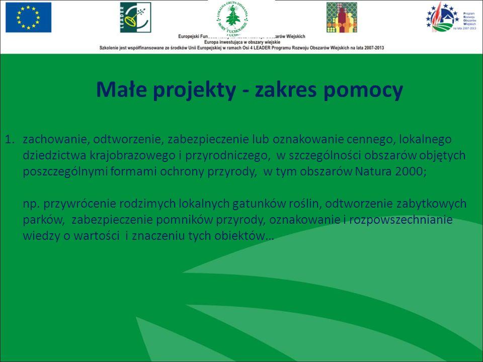 1.zachowanie, odtworzenie, zabezpieczenie lub oznakowanie cennego, lokalnego dziedzictwa krajobrazowego i przyrodniczego, w szczególności obszarów objętych poszczególnymi formami ochrony przyrody, w tym obszarów Natura 2000; np.