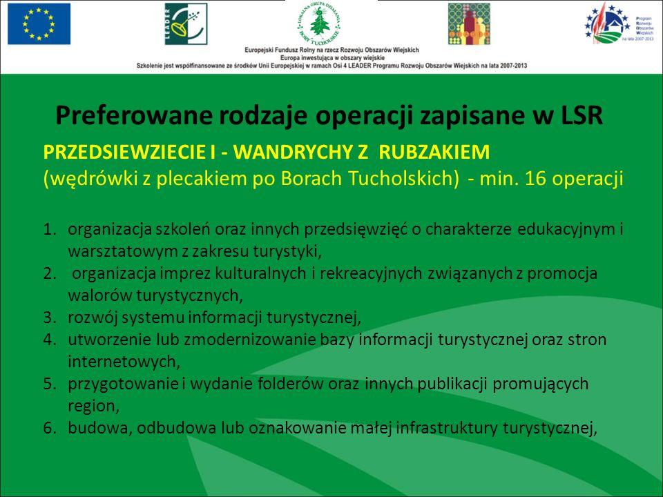 PRZEDSIEWZIECIE I - WANDRYCHY Z RUBZAKIEM (wędrówki z plecakiem po Borach Tucholskich) - min. 16 operacji 1.organizacja szkoleń oraz innych przedsięwz