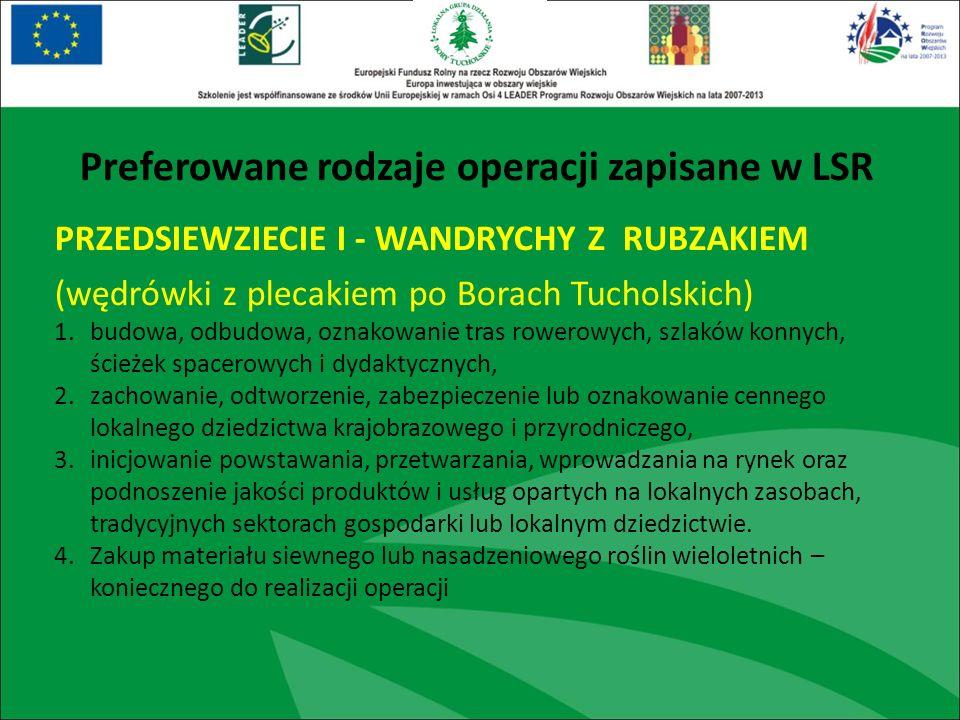 PRZEDSIEWZIECIE I - WANDRYCHY Z RUBZAKIEM (wędrówki z plecakiem po Borach Tucholskich) 1.budowa, odbudowa, oznakowanie tras rowerowych, szlaków konnyc
