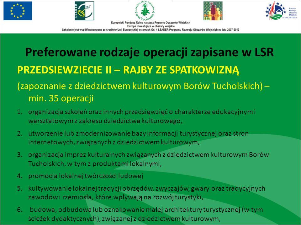 PRZEDSIEWZIECIE II – RAJBY ZE SPATKOWIZNĄ (zapoznanie z dziedzictwem kulturowym Borów Tucholskich) – min. 35 operacji 1.organizacja szkoleń oraz innyc