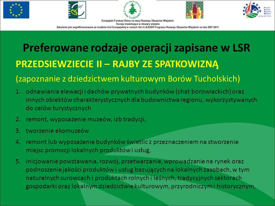 PRZEDSIEWZIECIE II – RAJBY ZE SPATKOWIZNĄ (zapoznanie z dziedzictwem kulturowym Borów Tucholskich) 1.odnawiania elewacji i dachów prywatnych budynków