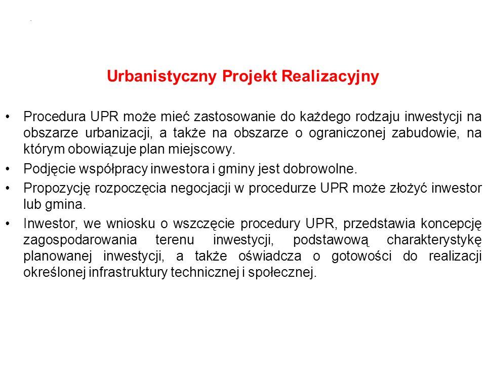 Urbanistyczny Projekt Realizacyjny Procedura UPR może mieć zastosowanie do każdego rodzaju inwestycji na obszarze urbanizacji, a także na obszarze o ograniczonej zabudowie, na którym obowiązuje plan miejscowy.