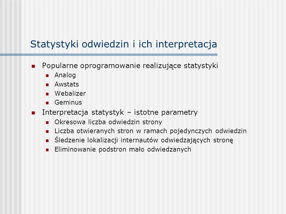 Statystyki odwiedzin i ich interpretacja Popularne oprogramowanie realizujące statystyki Analog Awstats Webalizer Geminus Interpretacja statystyk – is