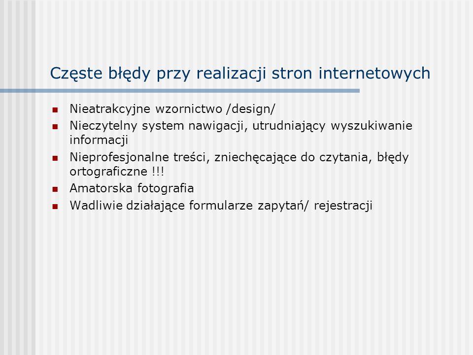 Częste błędy przy realizacji stron internetowych Nieatrakcyjne wzornictwo /design/ Nieczytelny system nawigacji, utrudniający wyszukiwanie informacji