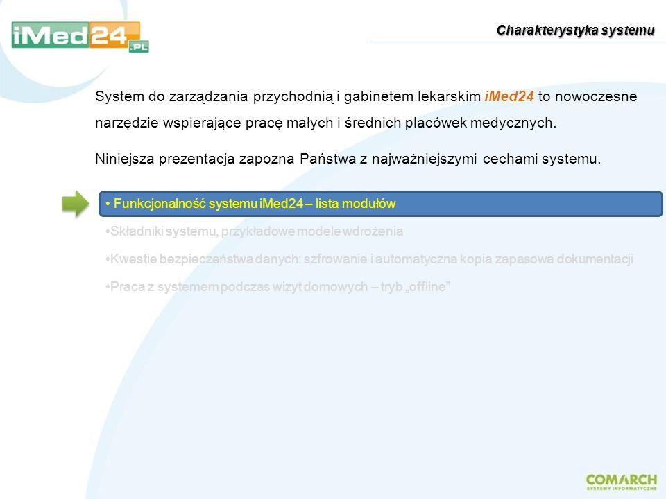 Funkcjonalność systemu iMed24 – lista modułów Składniki systemu, przykładowe modele wdrożenia Kwestie bezpieczeństwa danych: szfrowanie i automatyczna