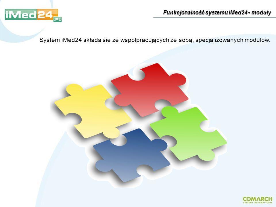 Moduł Administracja jest miejscem, z którego można zarządzać systemem, m.in.: definiować słowniki określać uprawnienia użytkowników konfigurować moduły na karcie wizyty definiować szablony kart wizyt ustawiać parametry systemu konfigurować wymianę danych z systemami zewnętrznymi Funkcjonalność systemu iMed24 - moduły