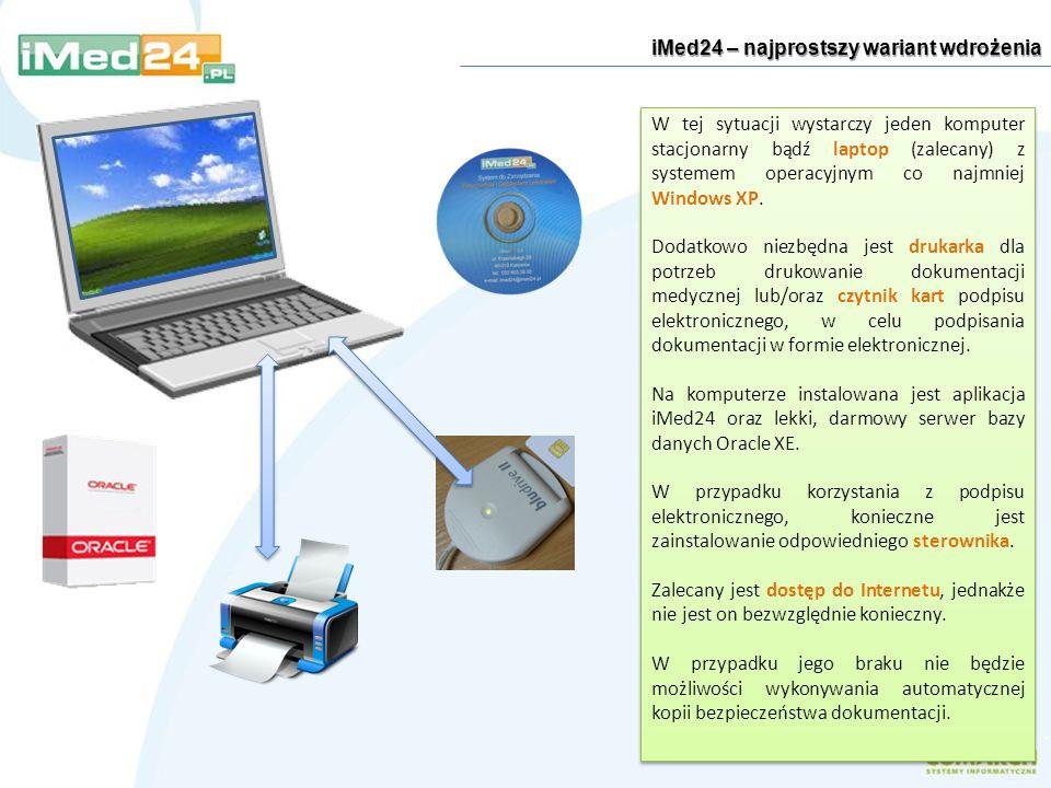 iMed24 – najprostszy wariant wdrożenia W tej sytuacji wystarczy jeden komputer stacjonarny bądź laptop (zalecany) z systemem operacyjnym co najmniej W