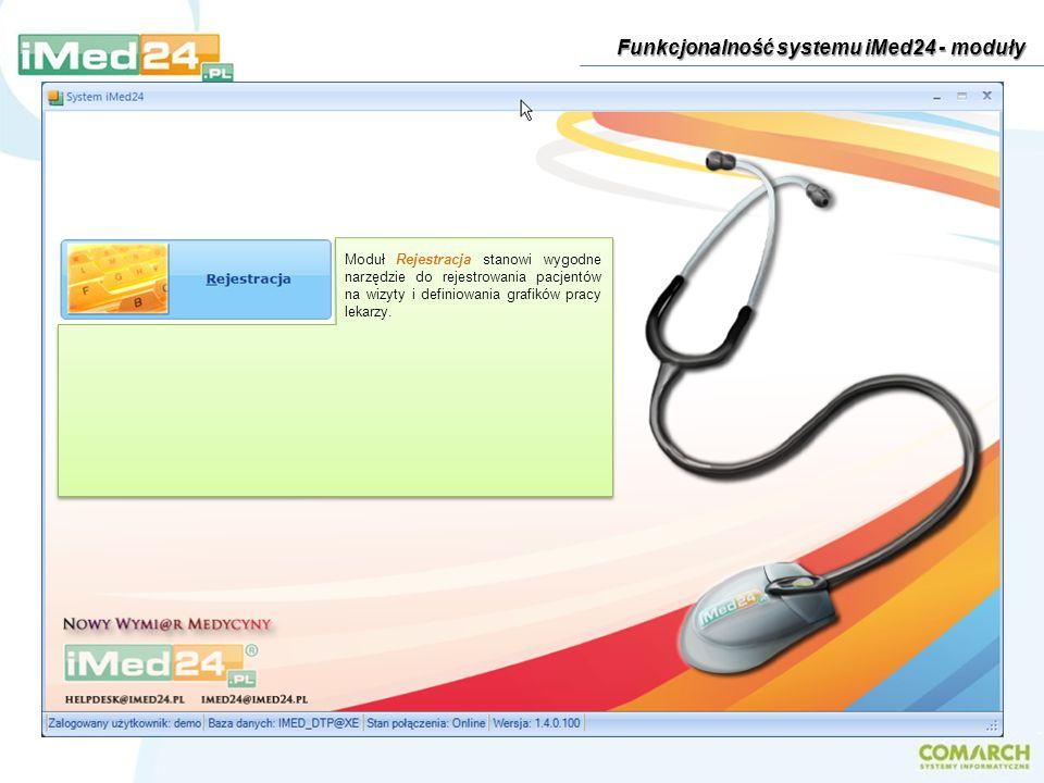 Moduł Rejestracja stanowi wygodne narzędzie do rejestrowania pacjentów na wizyty i definiowania grafików pracy lekarzy. Funkcjonalność systemu iMed24