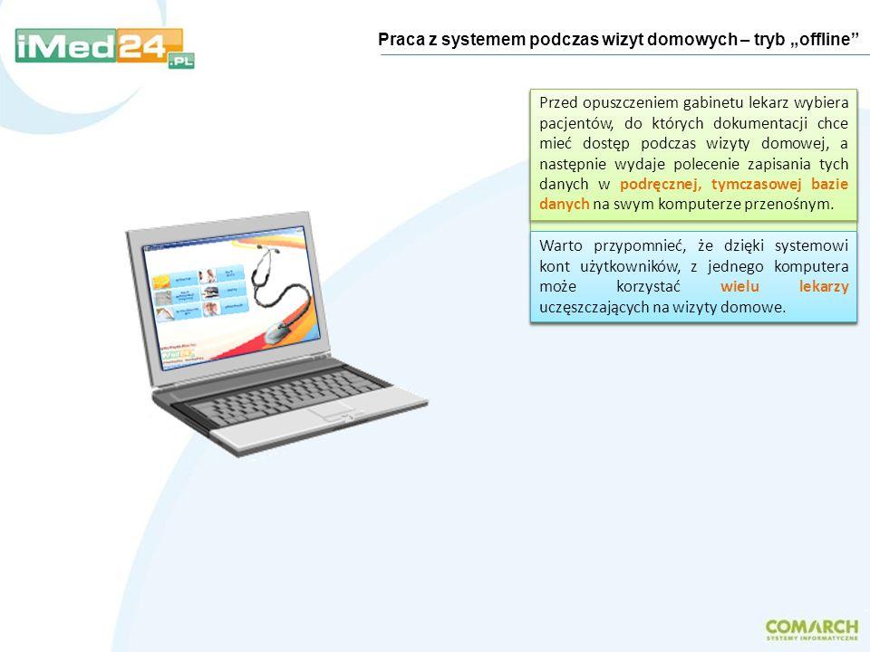 Praca z systemem podczas wizyt domowych – tryb offline Najczęstszym wariantem wdrożenia systemu jest zainstalowanie serwera bazy danych na osobnym kom