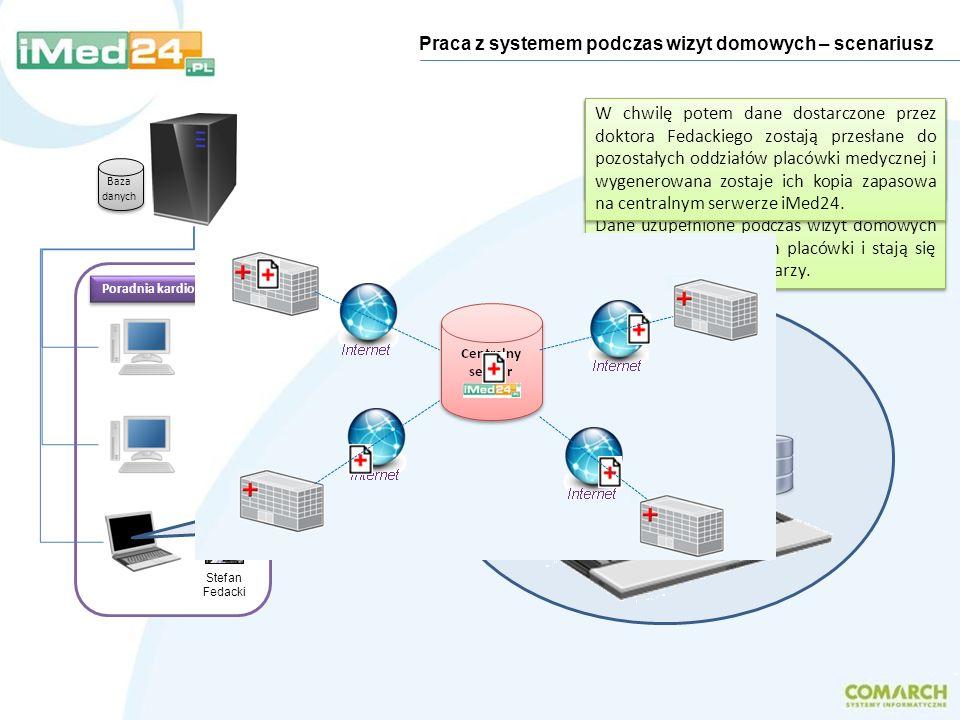 Po powrocie do placówki, dr Fedacki podłącza laptop do sieci i wydaje polecenie synchronizacji podręcznej bazy danych z bazą danych placówki. Dane uzu