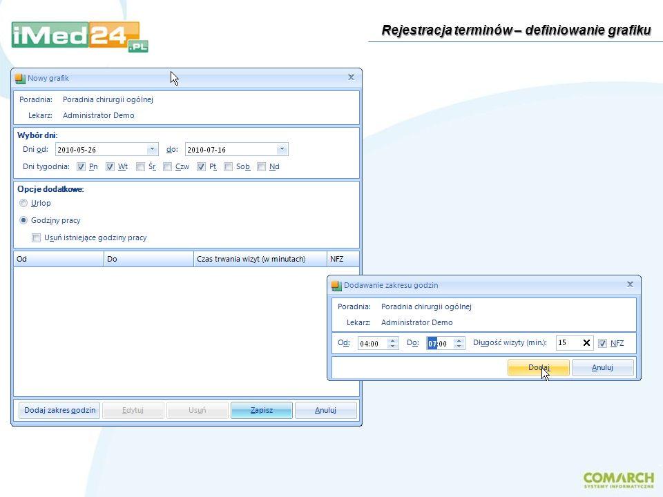 Praca z systemem podczas wizyt domowych – przykład Wybór pacjenta do trybu offline Dane dodane podczas wizyty domowej Po powrocie lekarz wydaje polecenie synchronizacji podręcznej bazy danych i bazy danych w placówce Wybór danych do synchronizacji W trybie online pojawiły się dane wprowadzone podczas wizyty domowej