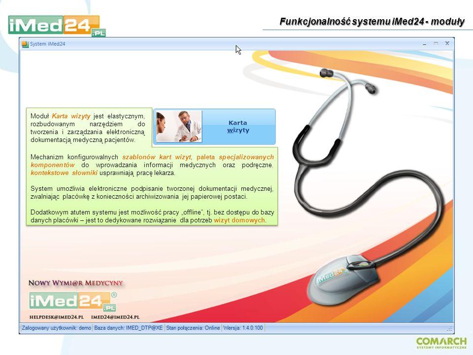 Moduł Karta wizyty jest elastycznym, rozbudowanym narzędziem do tworzenia i zarządzania elektroniczną dokumentacją medyczną pacjentów. Mechanizm konfi