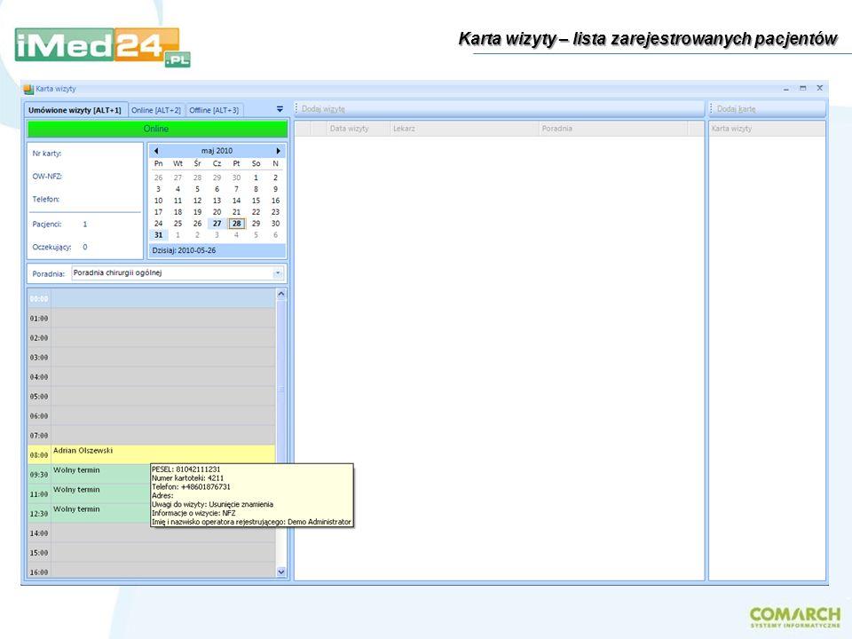 Internet Baza danych Baza danych Jednostka A placówki Centralny serwer Comarch Data Center Jednostka B placówki Baza danych Baza danych Bezpieczeństwo danych - automatyczna kopia zapasowa Wprowadzona przez lekarza dokumentacja medyczna, w zaszyfrowanej postaci, oprócz jej przechowywania na lokalnym serwerze w placówce, jest niezwłocznie przesyłana na centralny serwer iMed24.
