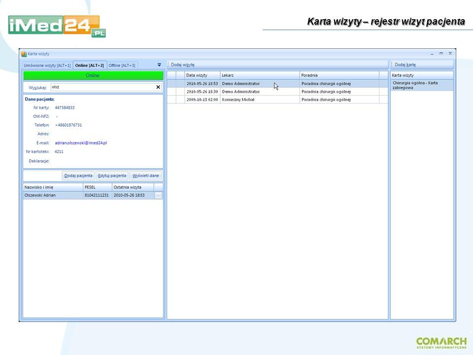 Funkcjonalność systemu iMed24 – lista modułów Składniki systemu, przykładowe modele wdrożenia Kwestie bezpieczeństwa danych: szyfrowanie i automatyczna kopia zapasowa dokumentacji Praca z systemem podczas wizyt domowych – tryb offline Charakterystyka systemu System do zarządzania przychodnią i gabinetem lekarskim iMed24 to nowoczesne narzędzie wspierające pracę małych i średnich placówek medycznych.