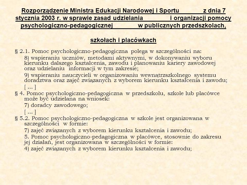 Rozporządzenie Ministra Edukacji Narodowej i Sportu z dnia 7 stycznia 2003 r. w sprawie zasad udzielania i organizacji pomocy psychologiczno-pedagogic