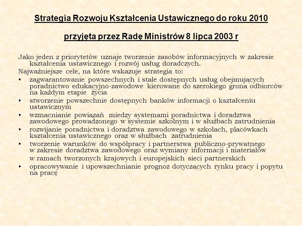 Strategia Rozwoju Kształcenia Ustawicznego do roku 2010 przyjęta przez Radę Ministrów 8 lipca 2003 r Jako jeden z priorytetów uznaje tworzenie zasobów