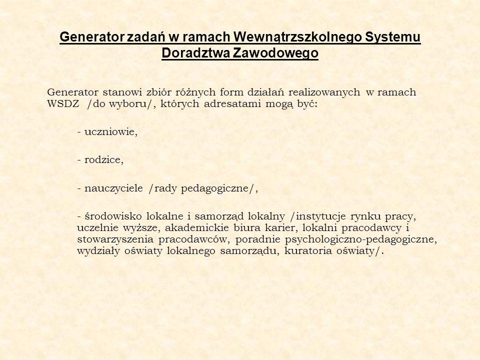 Generator zadań w ramach Wewnątrzszkolnego Systemu Doradztwa Zawodowego Generator stanowi zbiór różnych form działań realizowanych w ramach WSDZ /do w