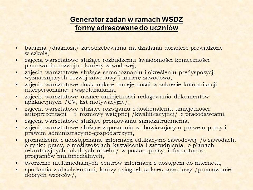 Generator zadań w ramach WSDZ formy adresowane do uczniów badania /diagnoza/ zapotrzebowania na działania doradcze prowadzone w szkole, zajęcia warszt
