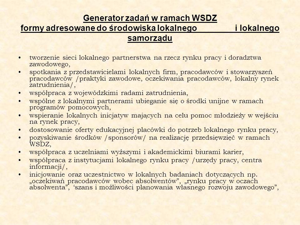 Generator zadań w ramach WSDZ formy adresowane do środowiska lokalnego i lokalnego samorządu tworzenie sieci lokalnego partnerstwa na rzecz rynku prac
