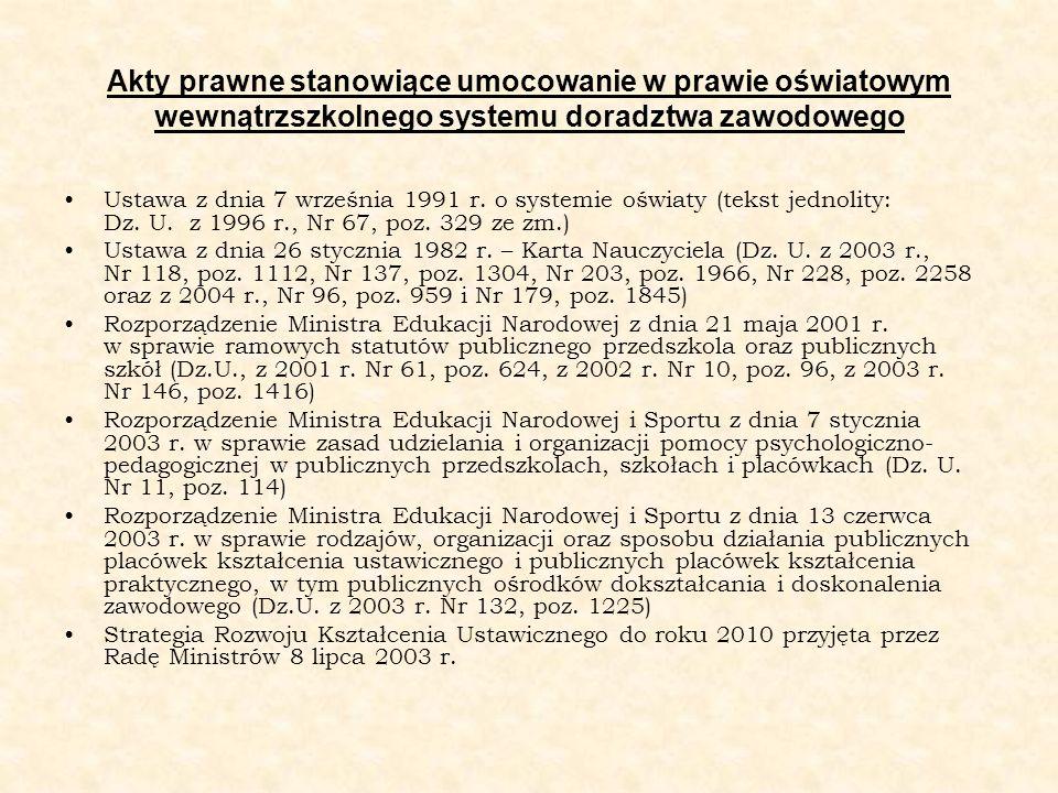 Akty prawne stanowiące umocowanie w prawie oświatowym wewnątrzszkolnego systemu doradztwa zawodowego Ustawa z dnia 7 września 1991 r. o systemie oświa